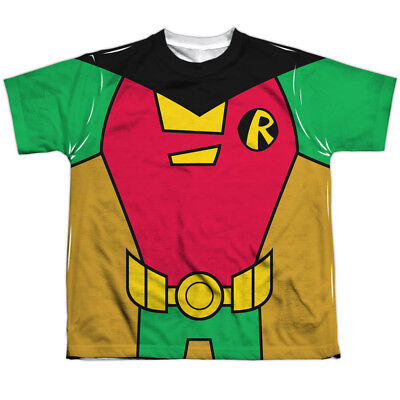 Authentic Teen Titans Go Robin Uniform Costume Outfit Youth Front T-shirt - Authentic Robin Costume