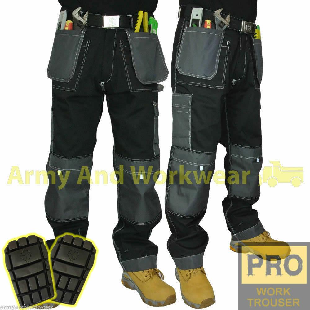 Mens Work Trouser Tuff Multi/Knee Pocket Pants Triple Stitch