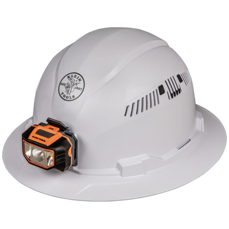 Klein 60407 Hard Hat, Vented, Full Brim with Headlamp, Class C Type 1 (White)