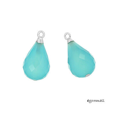 2 Blue Chalcedony Sterling Silver Teardrop Briolette Charm Earring Pendant 98324