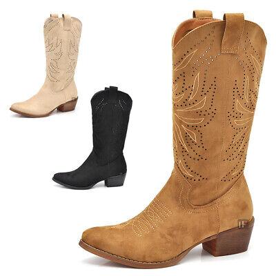 Stivali Primaverili Estivi Camperos Texani Da Donna Traforati Tacco LW319