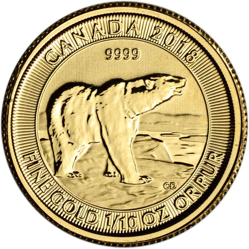 2018 Canada Gold Polar Bear 1/10 oz $5 - BU