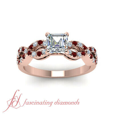 Infinity Round Ruby Engagement Rings 1 Carat Asscher Cut Untreated Diamond GIA 1