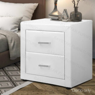 Brand New 2 Drawers PU Leather/Fabric Bedside Table