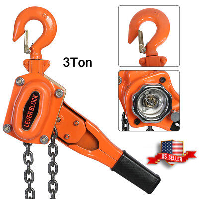 3TON /6600LBS LEVER BLOCK HOIST CHAIN RATCHET COME ALONG CHAIN HOIST US Stock ()