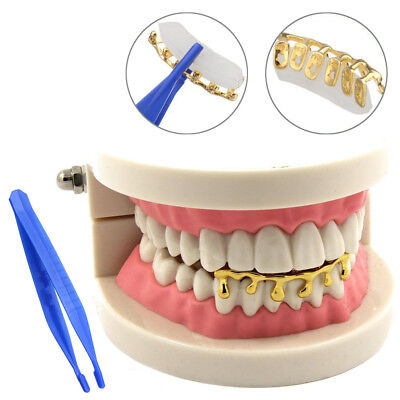 14k Gold Plated Hip Hop Teeth Drip Grillz Caps Lower Bottom Tooth Grill - Gold Teeth Caps