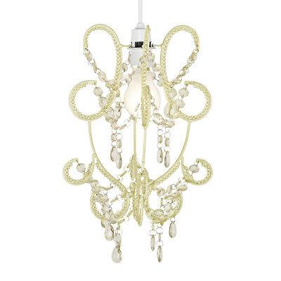 Modern Cream Shabby Chic Beaded Ceiling Light Pendant Shade Chandelier Lampshade