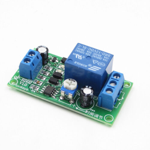 1PC 12 VDC ADJUSTABLE 0 TO 60 SECONDS IT TURNS ON THEN OFF ,10 AMP RELAY BOARD
