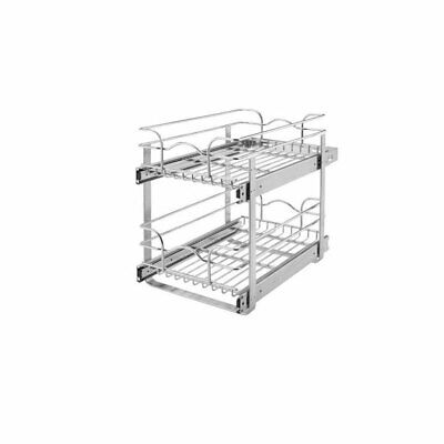 Rev-A-Shelf 5WB2-1822-CR 18 Inch Pull Out 2 Tier Wire Baskets, Plated Chrome Adjustable Pull Out Shelf