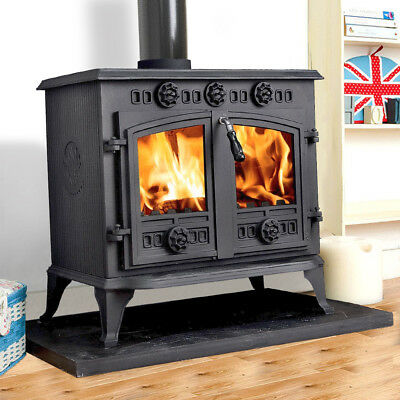 12KW Cast Iron Log Burner WoodBurner MultiFuel Wood Burning Stove New