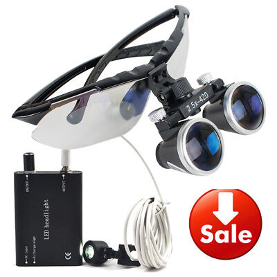 High-end Dental Surgical Binocular Loupes 2.5x 420mm With Led Head Light Lamp Ce