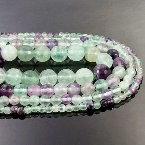 Natural Fluorite Gemstone Faceted Round Beads 15.5