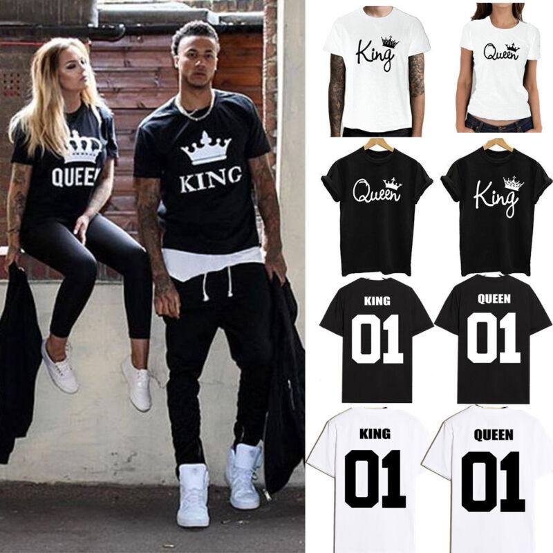 659de7b3dd Couple T-Shirt King & Queen Matching Set Sweet Family Love Clothes Tee Gift  ...