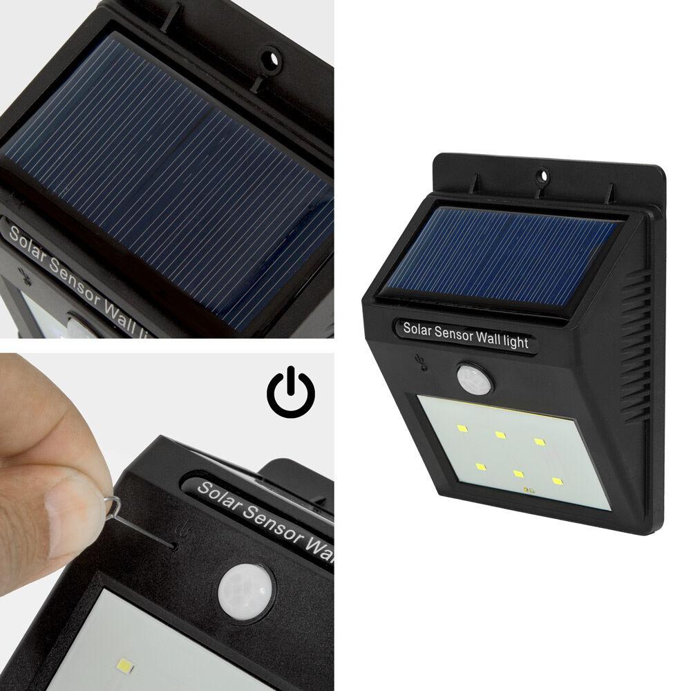 6 led solar au enleuchte wandlampe gartenleuchte bewegungsmelder lampe garten eur 14 79. Black Bedroom Furniture Sets. Home Design Ideas