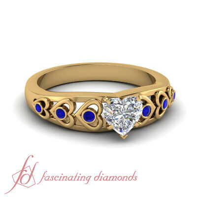 GIA Certified 0.85 Ct Heart Shaped Bezel Set Diamond Rings With Round Sapphire