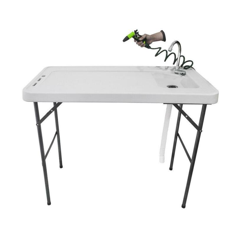 Portable Folding Fish Table With Spray Gun Faucet Sink Outdoor Cutting Washing