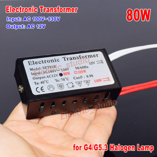 80W Electronic Transformer AC 120V to 12V for Halogen Lamp Power Supply Module