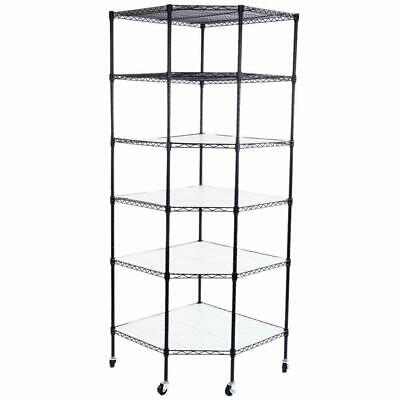 6 Tier Wire Shelving Adjustable Rolling Kitchen Rack Corner Storage Steel Black