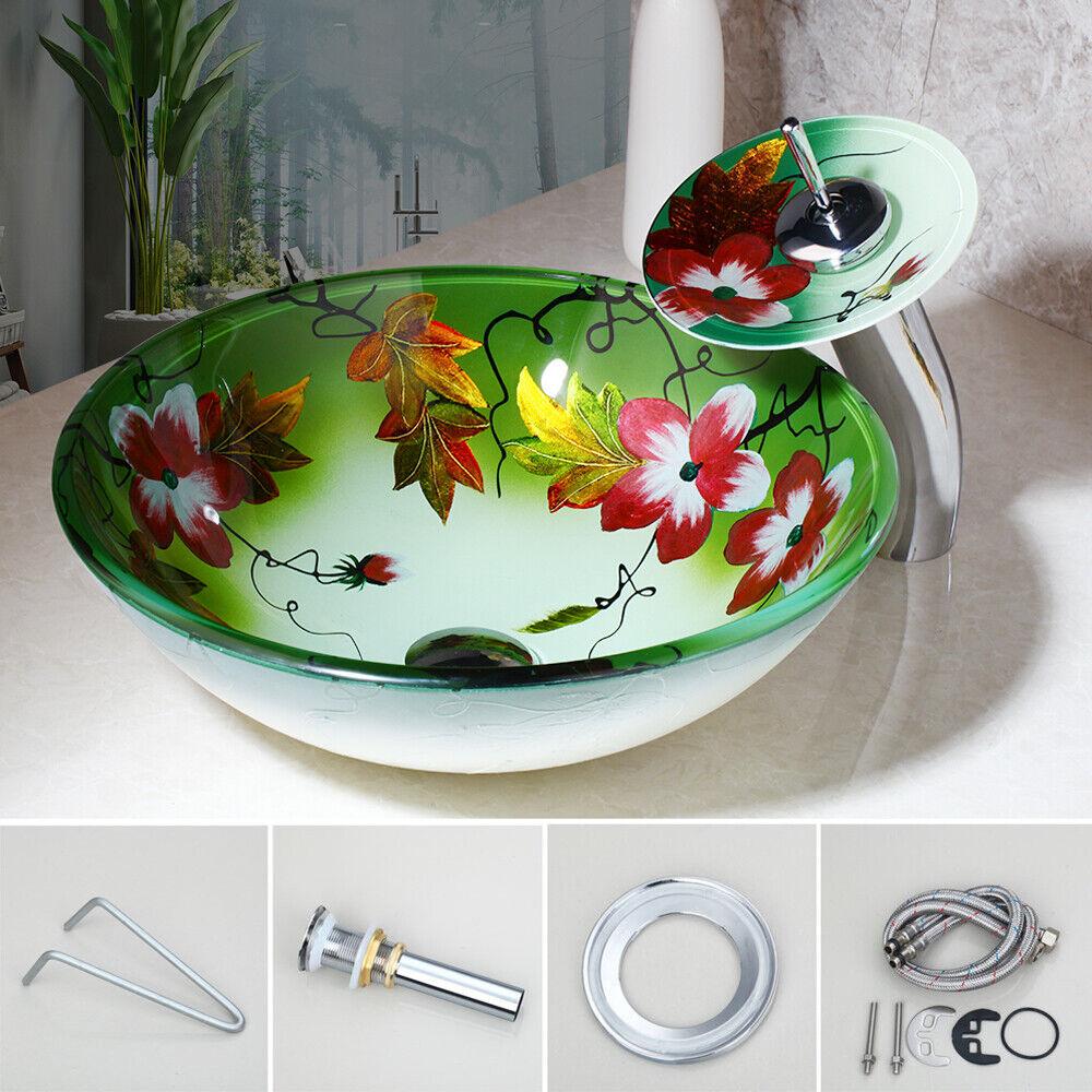 Bathroom Art Hand Painted Glass Basin Vanity Sink Bowl+Waterfall Faucet Set