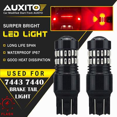 - 2 PC AUXITO 7443 7440 Brake Stop Light Red Flash Strobe Blinking LED Bulb US EDO
