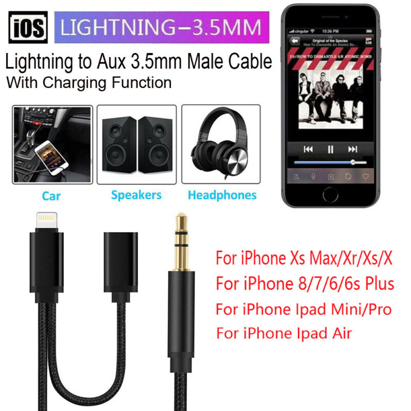 1M Lightning to 3.5mm Male Aux Jack Audio Charging Cord Cabl