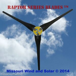 3 Raptor Series Blades™ wind turbine generator blades and hub propellers USA