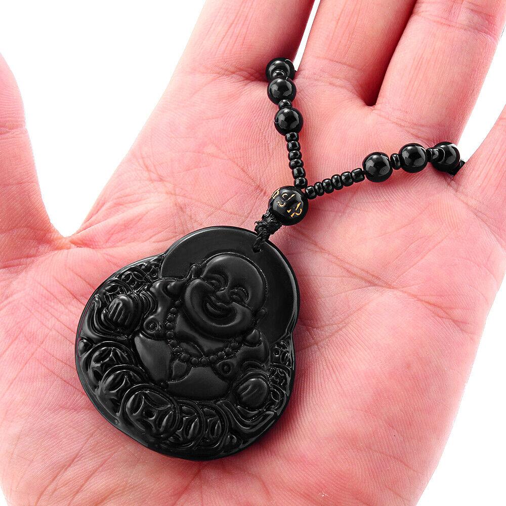 1PC Men/'s Obsidian Buddha Head Lucky Pendant Handmade Necklace Gift Jewelry