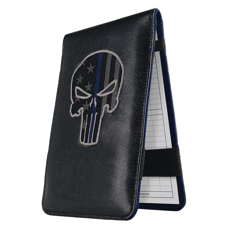 Black Punisher Skull Blue Line Golf Scorecard Yardage Book Cover Holder USA