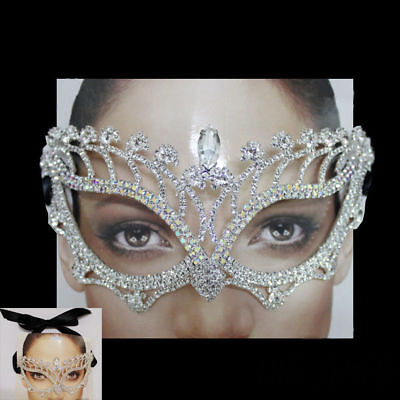 Silver Color AB Rhinestone Crystal Masquerade Mask Mardi Gras Party Black Ribbon