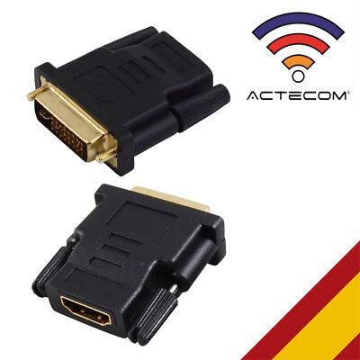 ACTECOM® ADAPTADOR CONVERSOR HDMI HEMBRA A DVI-I 24 + 1 MACHO CONECTOR