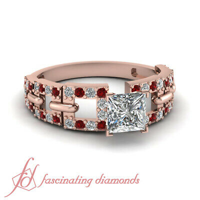 1.5 Carat Princess Cut Diamond And Ruby Womens Engagement Rings In Rose Gold GIA