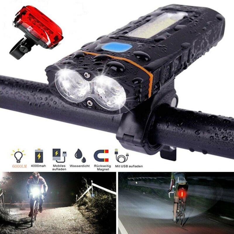 LED Fahrradlampen Set Fahrradbeleuchtung Fahrradlicht COB mit 18650 Akku USB DE