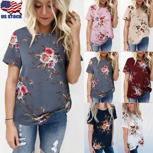 Womens Floral Print Tops Blouse Summer Short Sleeve T-Shirt
