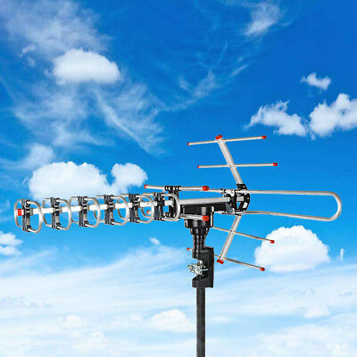 180 Mile Outdoor Amplified Antenna Digital 1080P Hd Tv 360 Rotor 38Db Uhf Vhf Fm