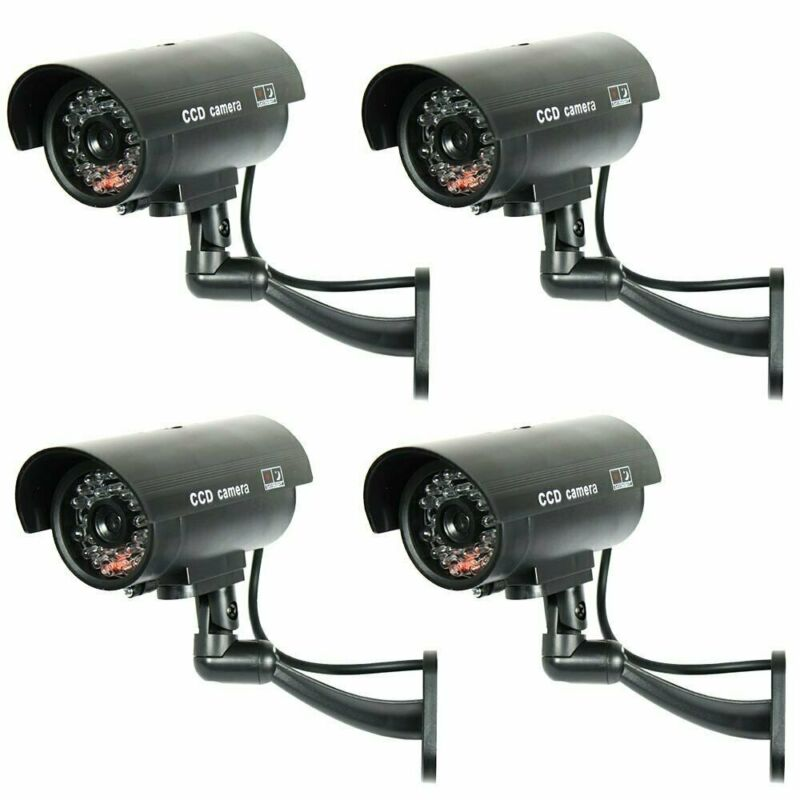 4 Pack IR Bullet Fake Dummy Surveillance Security Camera with Record Light-Black