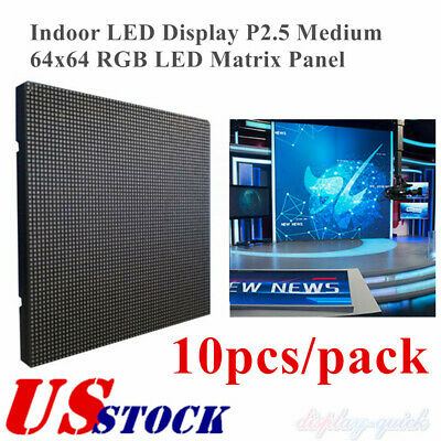 Us 10pcs Indoor Led Display P2.5 Medium 64x64 Rgb Led Matrix Panel
