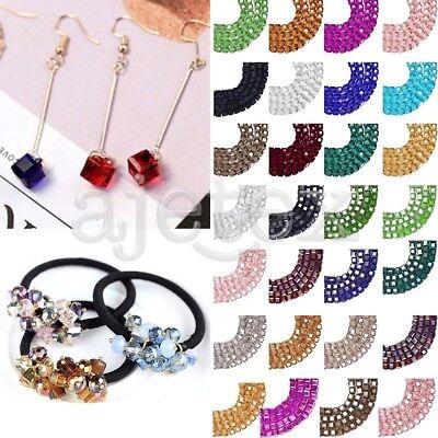 100pcs crystal diy loose beads 4mm cube