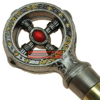 Robin Hood of Locksley Walking Cane Red Gem Handle Gold Inscription Steel Shaft