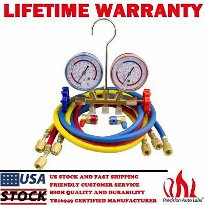 Manifold Gauge Set R134a R12 R22 R502 Hvac Ac Refrigerant W 5ft Charging Hoses