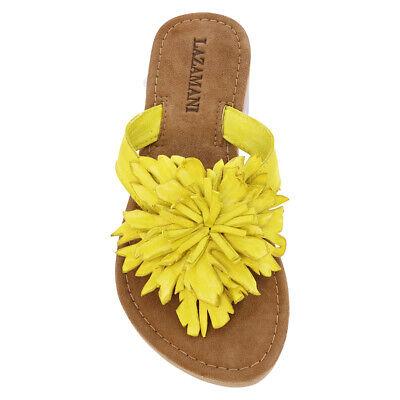 Lazamani Flip Sandalen Zehentrenner Leder yellow leucht gelb Blume Blüte SALE - Leder Blume Sandalen