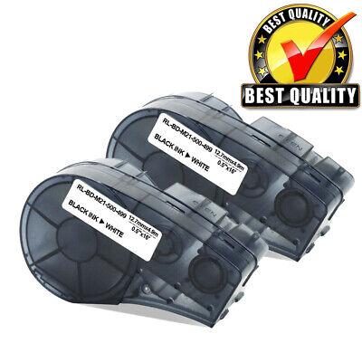 2 Nylon Label Tape Cartridge M21-500-499 For Brady Bmp21-plus Blackwhite 12