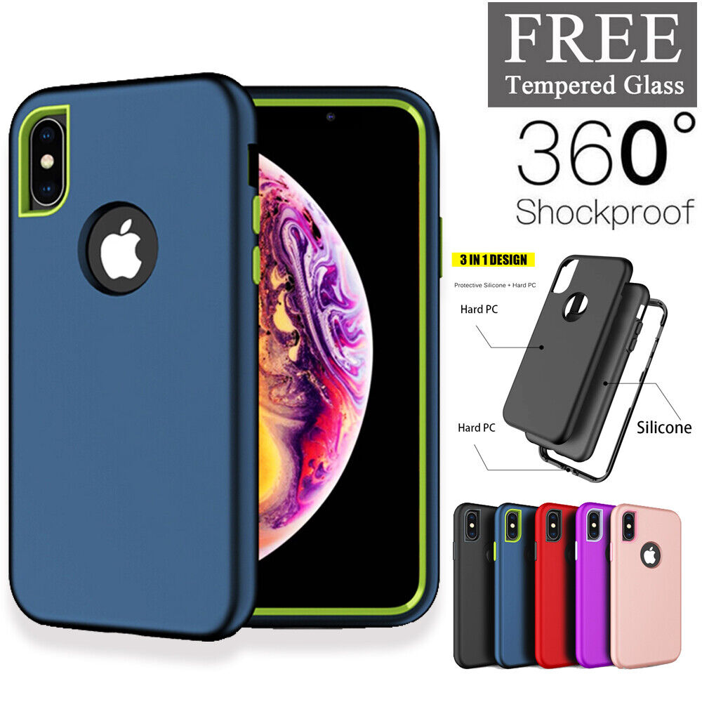 For iPhone 7 8 Plus X XR XS Max 360 Shockproof Case Cover +