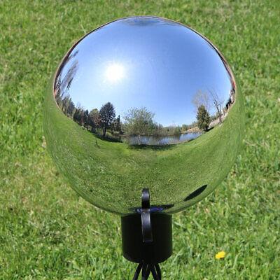 Sunnydaze Gazing Globe Glass Mirror Ball Stainless Steel Silver - 10-Inch ()