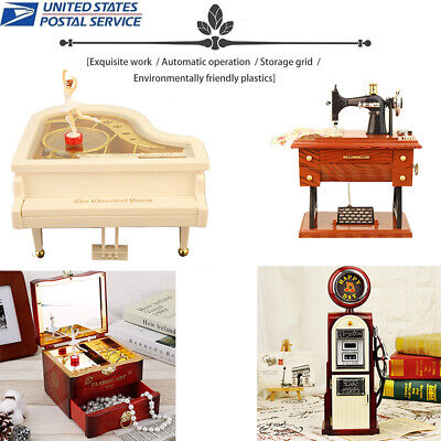 Music Box Mini Sewing Machine Style Mechanical Birthday Gift Table Decoration Collectible Music Box Gift