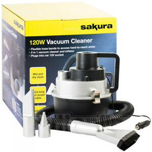 12v Sakura Wet Dry Vacuum Cleaner Hoover Portable Car Caravan Air Pump Inflator