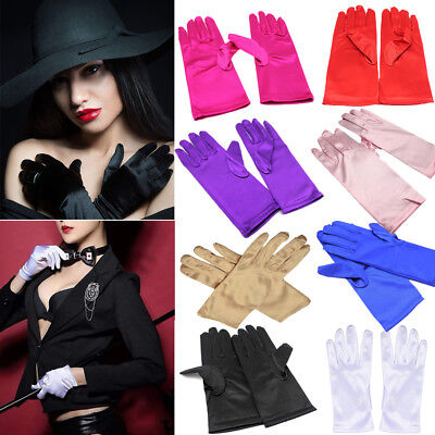 Party Gloves (Women Short Wrist Gloves Smooth Satin Party Dress Prom Evening Wedding US)