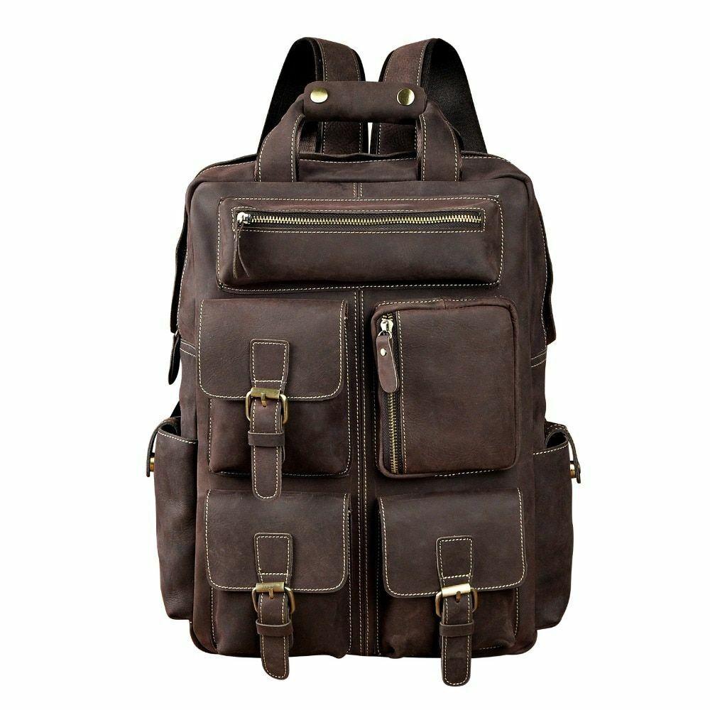 men travel backpack original leather fashion university