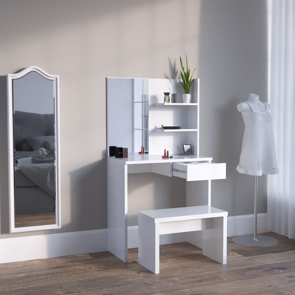meuble de maquillage coiffeuse commode de maquillage table de maquillage blanc eur 104 90. Black Bedroom Furniture Sets. Home Design Ideas