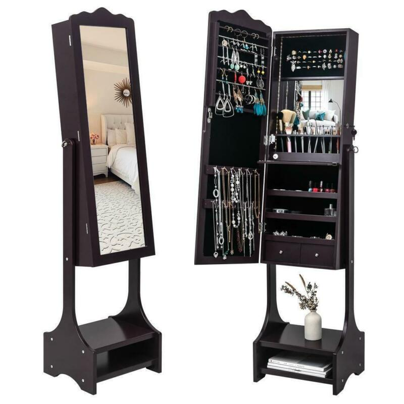 FreeStanding Mirror Jewelry Cabinet Armoire Storage Organizer w/Drawer&LED