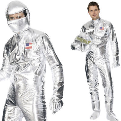 Metallic Silver Spaceman Costume Jumpsuit Astronaut NASA Apollo Adult Mens MD-LG